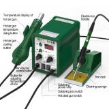 New panel upgrade Best 878D 2 in 1 digital display lead-free helical wind hot air soldering station 110V/220V optional