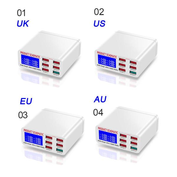 8A QC3.0 USB Charger with LCD Display 6 Ports Desktop Mobile Phone Charger Smart Fast Charging for Smart Phones Tablet PC