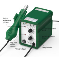 BEST 858+ 110V/220V 650w Temperature Adjustable Digital Display Hot Air Gun Automatic Smd Bga Rework Soldering Station