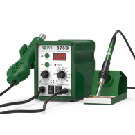 New panel upgrade Best 878D 2 in 1 digital display lead-free helical wind hot air soldering station 110V/220V optional
