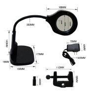 2 in 1 Lighted Magnifier Desk Flexible Practical LED Magnifying Lamp with C Clamp and Base Holder