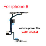 Power Volume Button For iPhone All Model 5 5S 6 6s 7 8 Plus X series Metal Holder Mute Switch Power Volume Button Flex Cable
