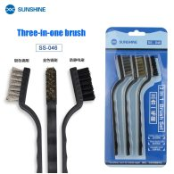 Sunshine SS-046 3 in1steel brush Gold/Silver/Anti-static Steel Cleaning brush dust removal mobile phone repair tools Maintenance