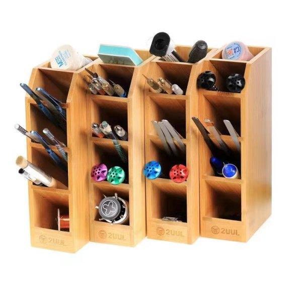 2UUL Bamboo Tool Storage Rack Multifunctional Storage Box Wooden Desktop Organizer Tweezer Screwdriver Phone Repair Tool Holder