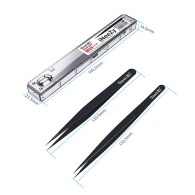 Qianli 0.1mm Black Tweezers Hand Polished Non Magnetic Stainless Steel Phone Repair Tools for BGA Motherboard Micro Forceps