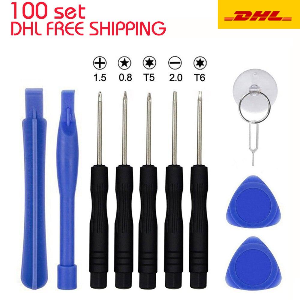 100Sets 11 in 1 Mobile Repair Fix Opening Tool Kit Set Pry Screwdriver Mobile Phone Repair Tool Set For iPhone  Samsung huawei