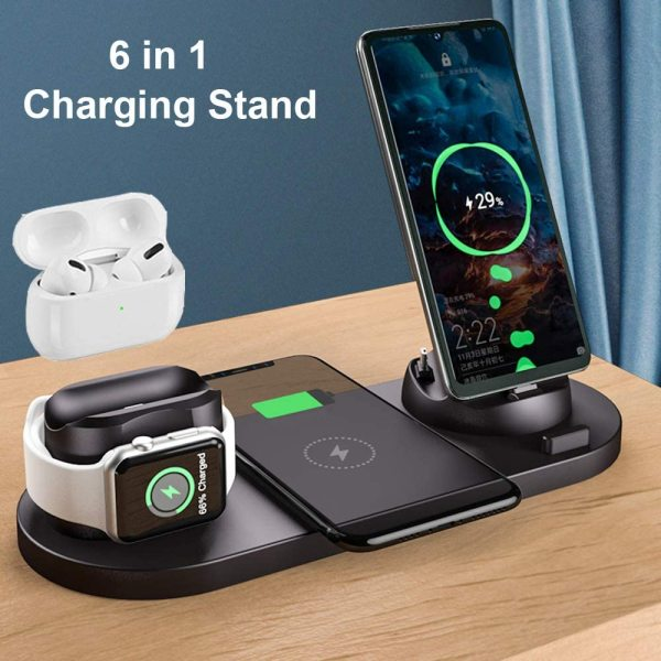 6 in 1 Wireless Charger Station Portable Qi Fast Charging Dock Stand for AirPods Pro/AirPods/iPhone/Samsung/Huawei/HTC/Sony