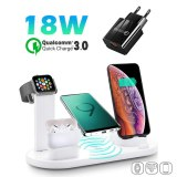 4 in 1 Wireless Charging Induction Charger Stand For iPhone 11 Pro X XS Max XR 8 Airpods Pro Apple Watch Docking Station