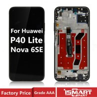 Original LCD For HUAWEI P40 Lite Screen With Frame Replacement Display Nova 6 SE JNY-AL10 LCD Assembly
