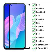 9D Protective Glass on For Huawei P20 Pro P10 Plus P30 P40 Lite E P Smart 2019 Tempered Screen Protector Glass Protection Film