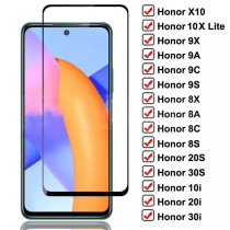 Full Cover Tempered Glass For Honor 10X Lite 9X 9A 9C 9S Screen Protector Glass Honor 8X 8A 8C 8S 20S 30S 9i 10i 20i 30i Glass
