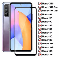 9D Protective Glass For Honor 10X Lite X10 9X 9A 9C 9S Tempered Screen Protector Honor 8X 8A 8C 8S 20S 30S 9i 10i 20i 30i Glass