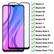 9D Tempered Glass For Xiaomi Redmi 9 9A 9C 8 8A 7 7A Screen Protector Glass Redmi 10X Note 7 8 8T 9S 9 Pro Max Protective Glass