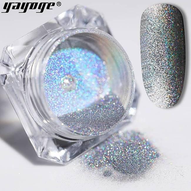 Silver Nail Glitter Chrome Laser Powder LS-01