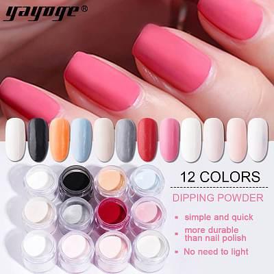 12 Colors Nail Powder Matte Dipping Powder Natural Dry HY