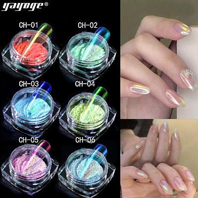 Aurora Ice Transparent Mirror Powder Nail Chrome CH