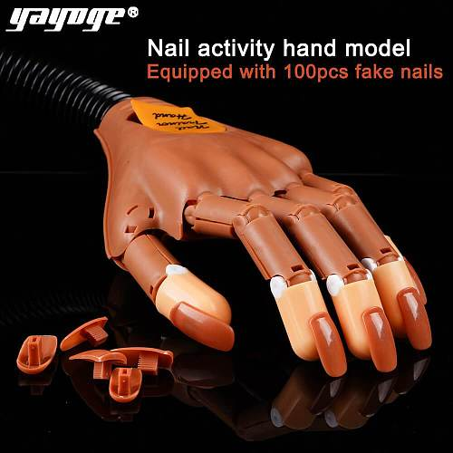 Single Detachable Practice Hand+100pcs Nail Tips Adjustable Hands Model
