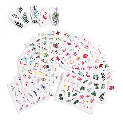 12Pcs/Set Nail Sticker Leaf Pattern Flamingo Water Transfer Slider For Nails Art Decor