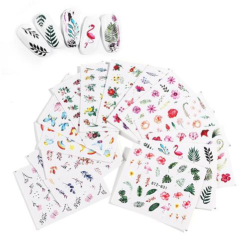 12Pcs/Set Nail Sticker Leaf Pattern Flamingo Water Transfer Slider For Nails Art Decor