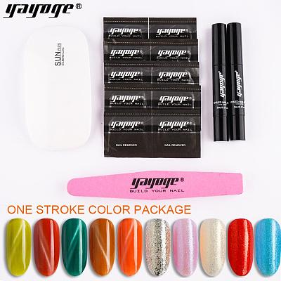 2 Pcs/Set Nail Gel Polish Pen One Step Gel No Need Base Coat UV LED Soak Off Gel Polish Nail Art Salon
