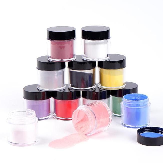 12 Colors/Set Acrylic Nail Powder Crystal Extension Powders SJF-12