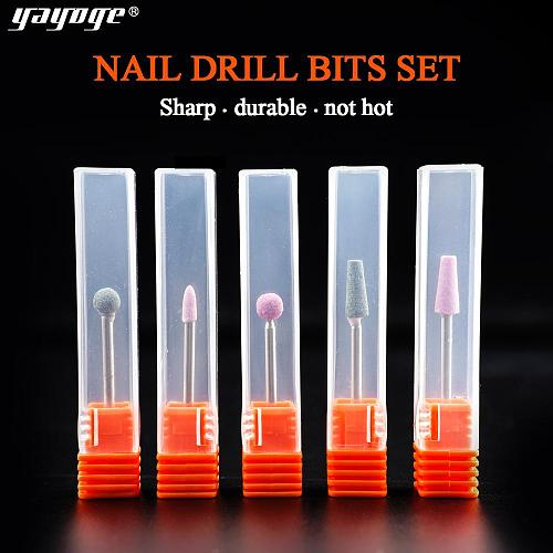 5 Pcs/Set Bullet Ceramic Nail Drill Bit Unload Trim