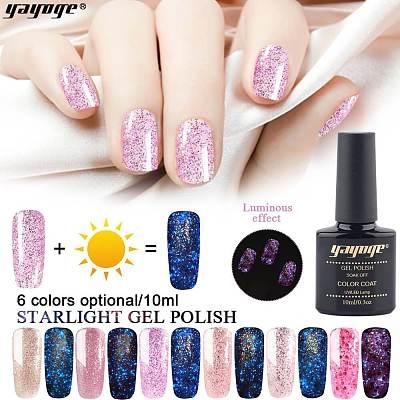 Luminous Gel Polish Starry Glitter Gel Varnish Nail Lacquer Fluorescent Gel Enamel(10ml)