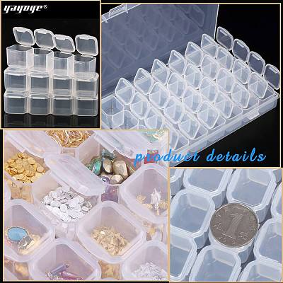 28 Slots Clear Plastic Detachable Storage Container Box For Nail Jewelry