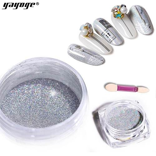 Silver Nail Glitter Chrome Laser Powder LS-01