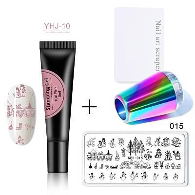 Soak Off Stamping Gel + Stamping Plate + Stamer Scraper Kit YHJ-A2