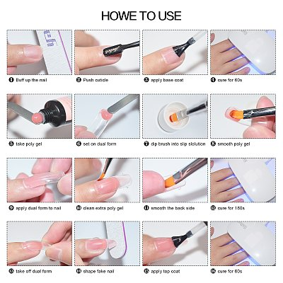 New Pack 32 PCs 7 Colors 15ML Nail Extension Polygel Set YTNP15071