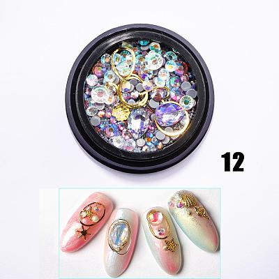 12 TypeS Nail Glitter Diamond Rhinestone Sequins 3D Crystal Stone Nail Art DIY