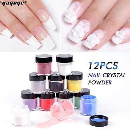 12 Colors/Set Acrylic Nail Powder Crystal Extension Powders SJF-12