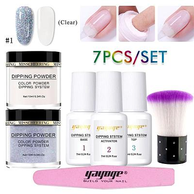 7 Pcs/Set Natural Dry Pure Color & Glitter Dipping Powder Kit DP-L-2P