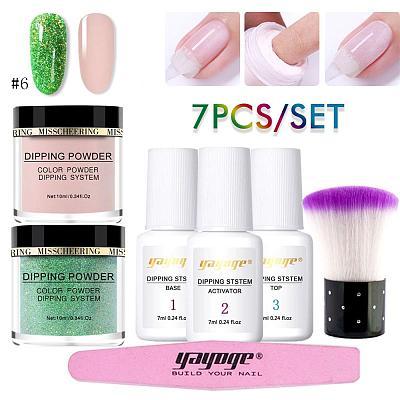 7 Pcs/Set Natural Dry Pure Color & Glitter Dipping Powder Kit DP-L-2P