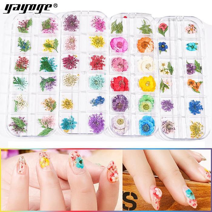 Dry Flower DIY Adhesive Nail Art Decors Stickers FL