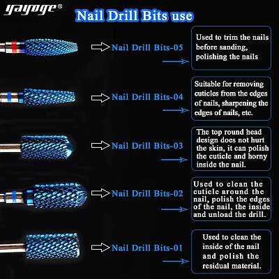 5 Size Flat Head Tungsten Nail Drill Bit For Electric Nail Drill
