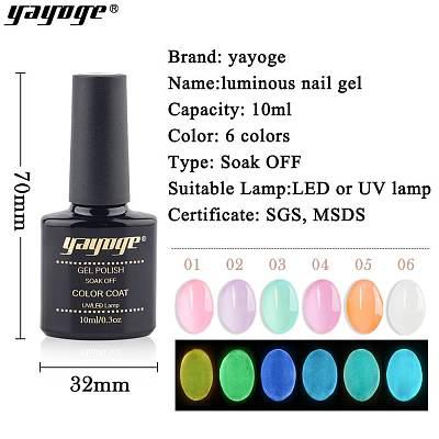 6 Colors 10ml Summer Luminous Nail Gel Soak Off