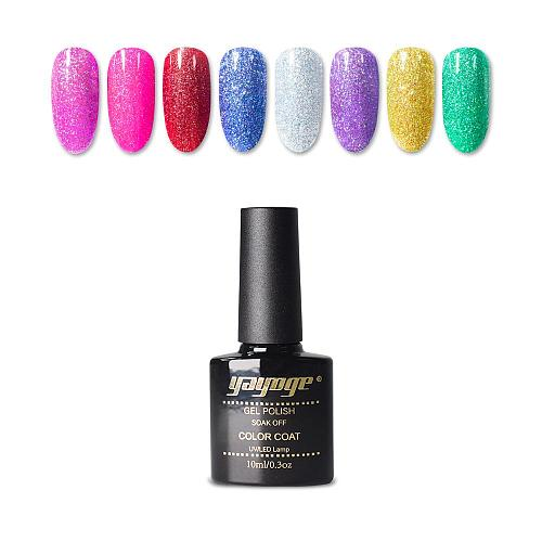 8 Colors UV LED Holographic Glitter Rainbow Neon Nail Gel Soak Off Gel Polish(10ml)