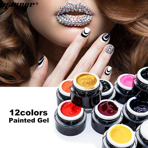 12 Colors Nail Painted Gel Soak Off Long-Lasting UV LED Gel