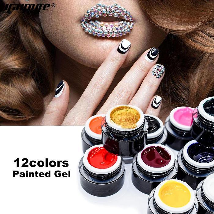 12 Colors Nail Painted Gel Soak Off Long-Lasting UV LED Gel