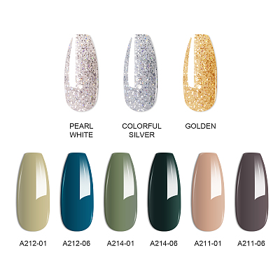 New Fall Glamor 25 PCs Nail Gel Polish Glitter Polygel Kit