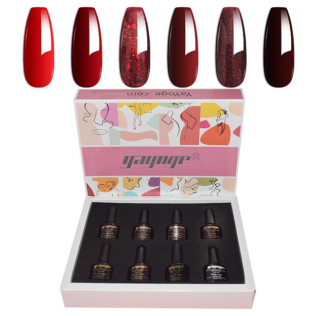 6 Colors Gel Nail Polish Set Gift Box Package