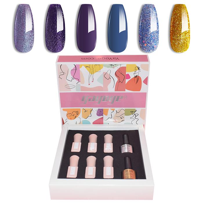 Purple Rain 6 Colours Nail Gel Polish Starter Set