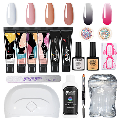 Abstract & Chameloen 15ml 6 Colors Poly Gel Kit With UV Lamp