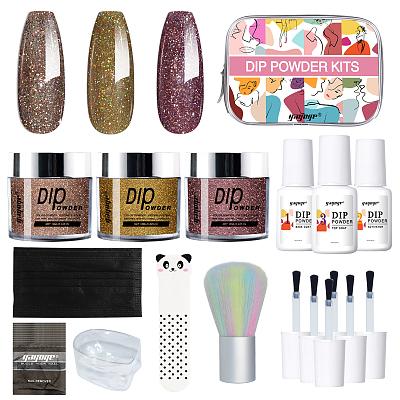 New fashion Nail art Dip Powder Set Nail Kit dipping powder set with nails brush