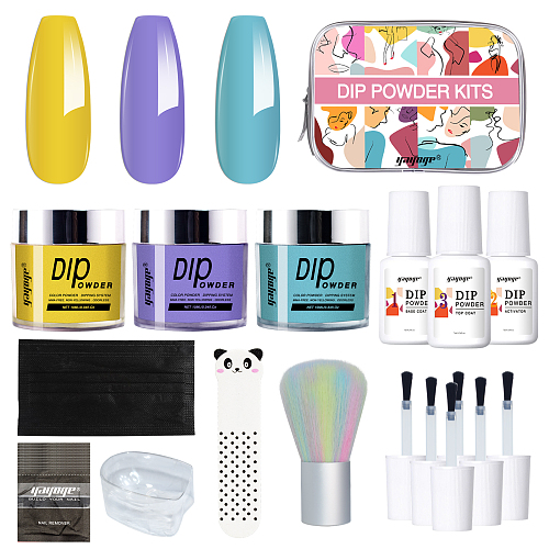 Solo Travel 3 Color Dip Powder Kit With Base Coat