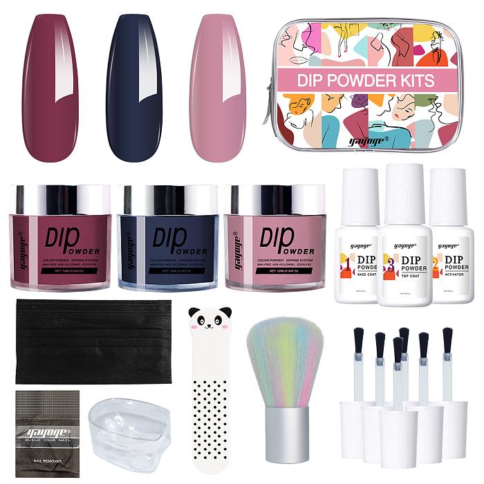 Dip Powder Nail Set Starter Kit Base and top coat nails brush cuticle file