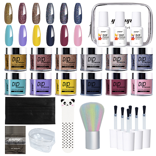 Alluring 12 Colors Glitter Dipping Powder Nail Starter Kit