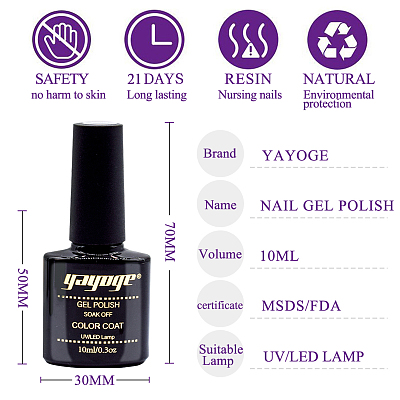 6 Colors Purple Pink Series Gel Nail Polish UV LED Soak Off(10ml)